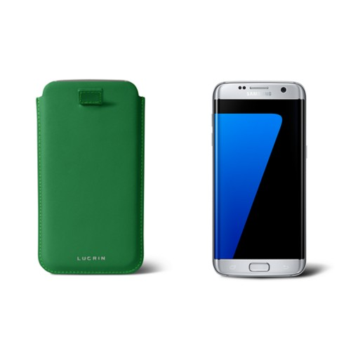Samsung Galaxy S7 Edge case with pull-up strap - Light Green - Smooth Leather