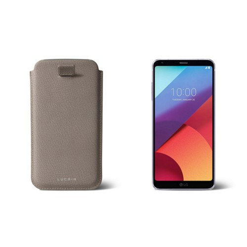 LG G6 case with pull-up strap - Light Taupe - Goat Leather