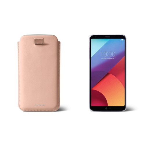 LG G6 case with pull-up strap - Nude - Smooth Leather