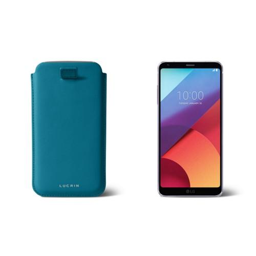 Étui tirette LG G6 - Turquoise - Cuir Lisse