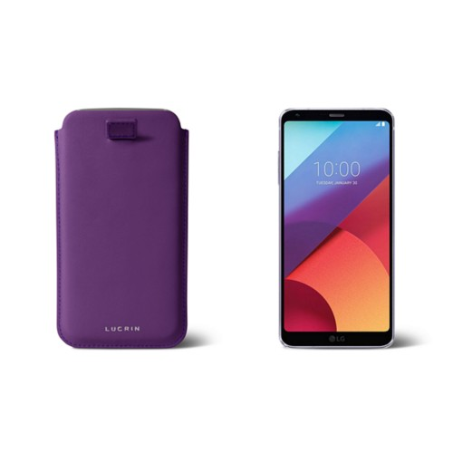 LG G6 case with pull-up strap - Lavender - Smooth Leather