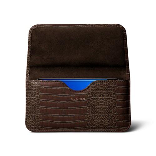 Belt Case for Samsung Galaxy S8 - Dark Brown - Crocodile style calfskin