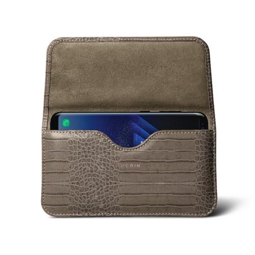 Belt Case for Samsung Galaxy S8+ - Light Taupe - Crocodile style calfskin