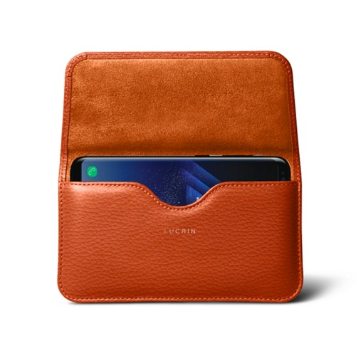 Belt Case for Samsung Galaxy S8+ - Orange - Granulated Leather