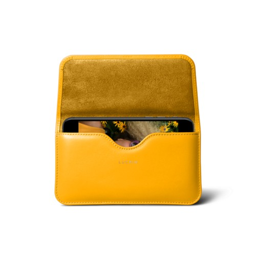 Belt case for iPhone 7 - Sun Yellow - Smooth Leather