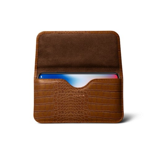 Belt case for iPhone X - Camel - Crocodile style calfskin