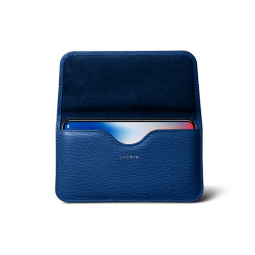 Belt case for iPhone X - Royal Blue - Granulated Leather