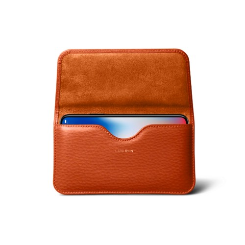 Belt case for iPhone X - Orange - Granulated Leather