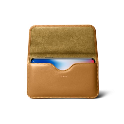 Belt case for iPhone X - Natural - Smooth Leather