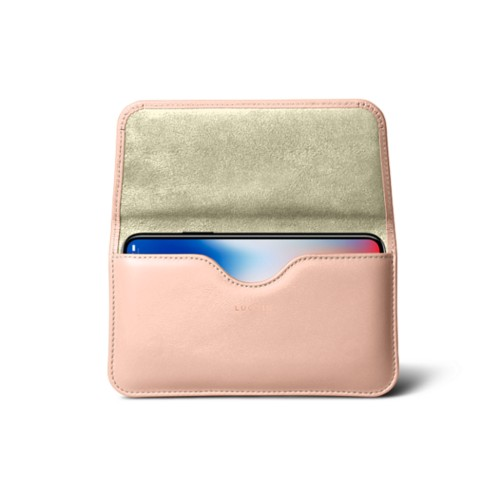 Belt case for iPhone X - Nude - Smooth Leather