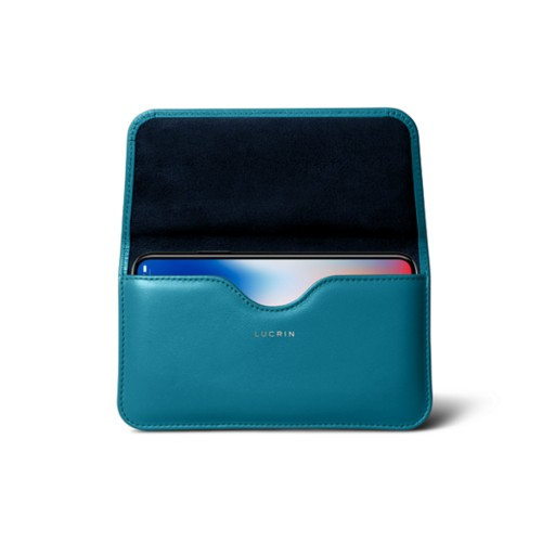 Belt case for iPhone X - Turquoise - Smooth Leather