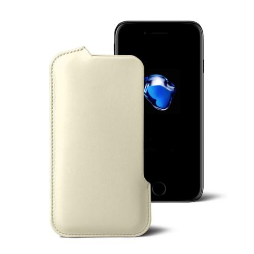 Hülle für das iPhone-7-Plus - Gebrochen Weiß - Glattleder