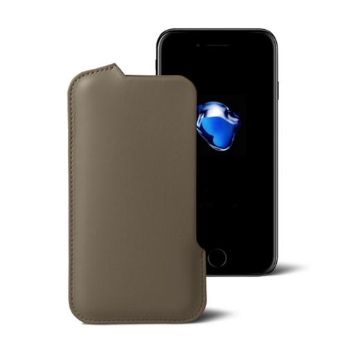 Funda para el iPhone 7 Plus - Marrón topo - Piel Liso