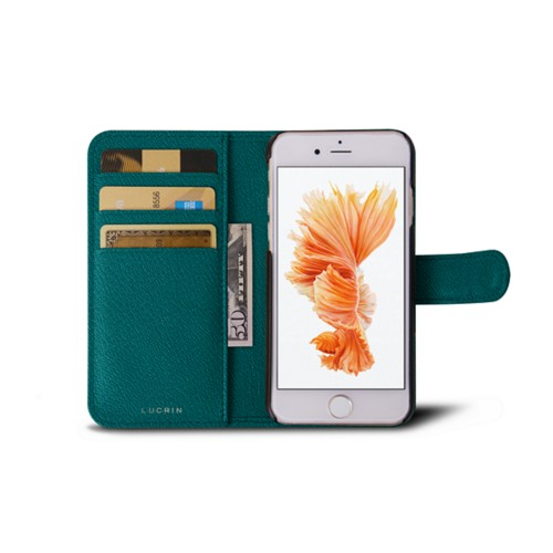 iPhone 6 / 6S lompakkokotelo - Valtameren Vihreä - Vuohennahka