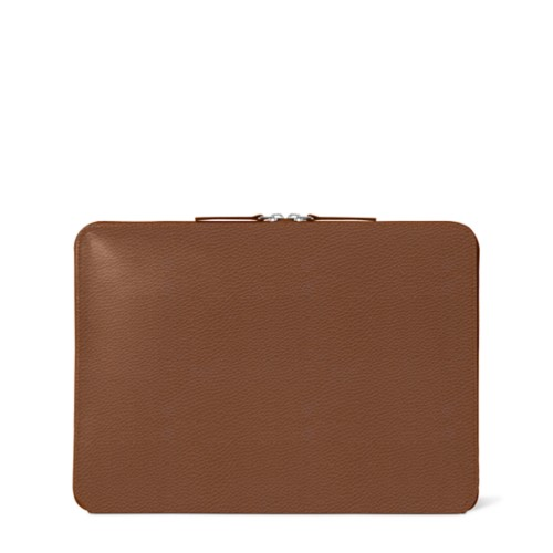 """MacBook Pro 13"""" Touch Bar Zipped Pouch - Tan - Granulated Leather"""