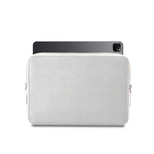 "Zipped Case for iPad Pro 12.9"" 2018 - White - Granulated Leather"