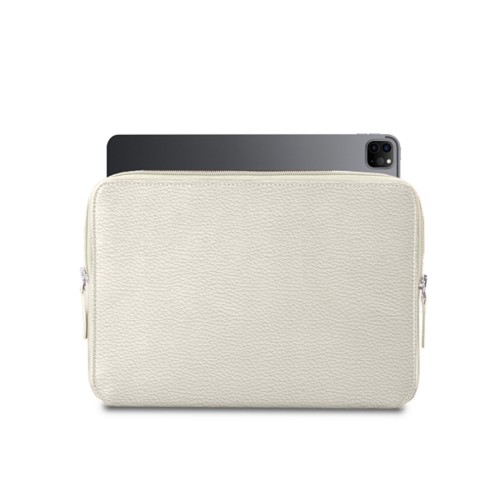 "Zipped Case for iPad Pro 12.9"" 2018 - Off-White - Granulated Leather"