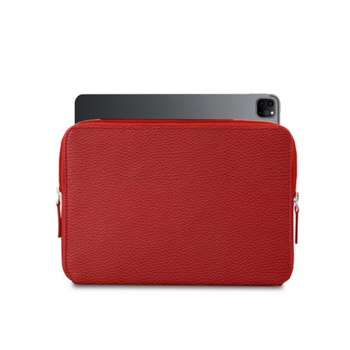 "Zipped Case for iPad Pro 12.9"" 2018 - Red - Granulated Leather"