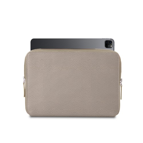 """Zipped Case for iPad Pro 12.9"""" 2018 - Light Taupe - Granulated Leather"""