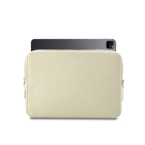 "Zipped Case for iPad Pro 12.9"" 2018 - Off-White - Smooth Leather"