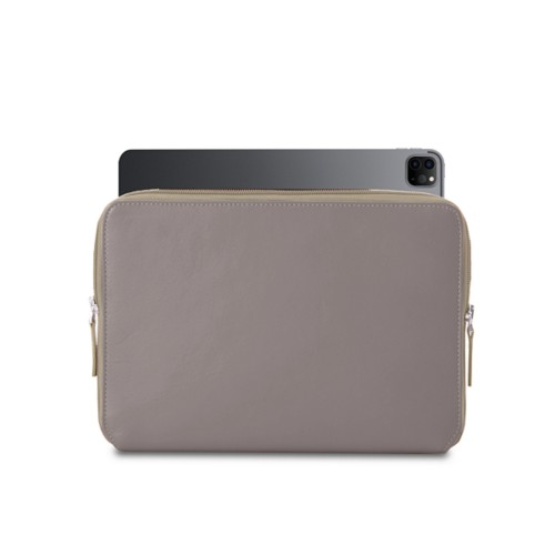 """Zipped Case for iPad Pro 12.9"""" 2018 - Light Taupe - Smooth Leather"""