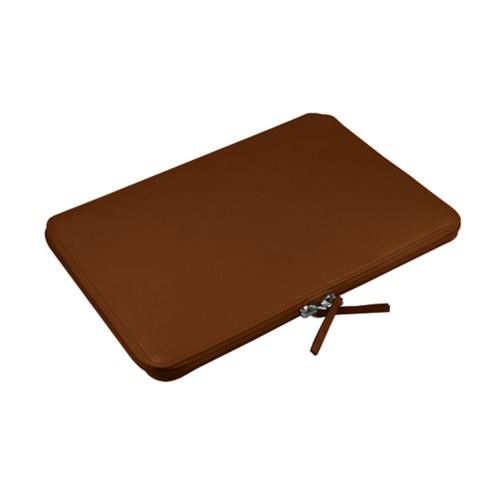 """Macbook pro 15"""" Touch Bar zipped pouch - Tan - Smooth Leather"""