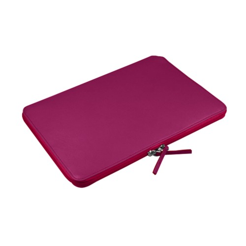 """Macbook pro 15"""" Touch Bar zipped pouch - Fuchsia  - Smooth Leather"""