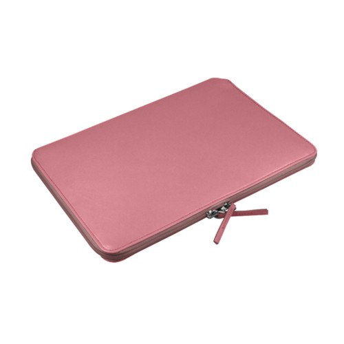 "Macbook pro 15"" Touch Bar zipped pouch - Pink - Smooth Leather"