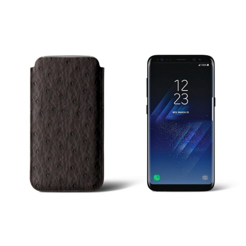 Classic Case for Samsung Galaxy S8 - Dark Brown - Real Ostrich Leather