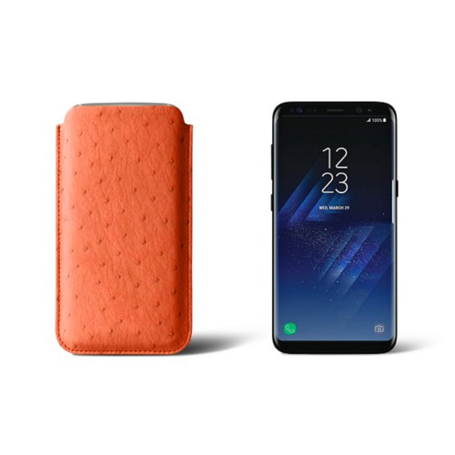 Classic Case for Samsung Galaxy S8 - Orange - Real Ostrich Leather