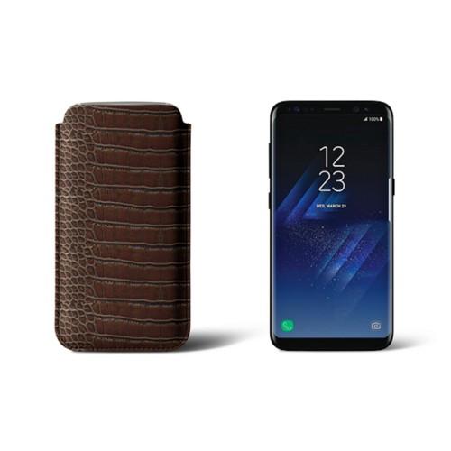 Classic Case for Samsung Galaxy S8 - Dark Brown - Crocodile style calfskin