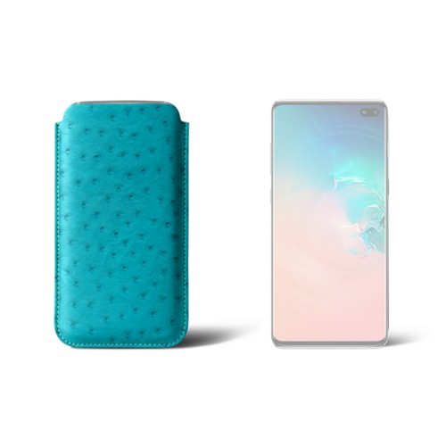 Simple sleeve for S8+ - Turquoise - Real Ostrich Leather