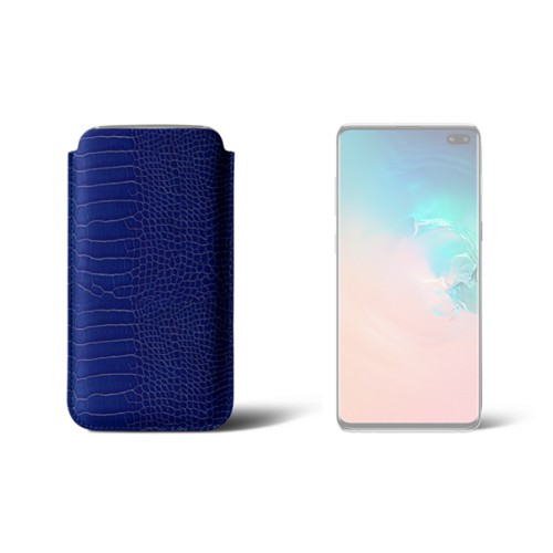 Simple sleeve for S8+ - Royal Blue - Crocodile style calfskin