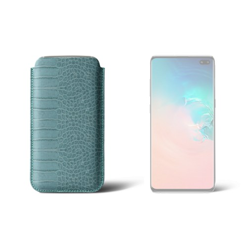 Simple sleeve for S8+ - Turquoise - Crocodile style calfskin