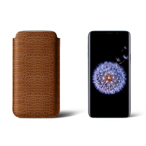 Sleeve voor Samsung Galaxy S9+ - Camel - Krokodilstijl Kalfsleer