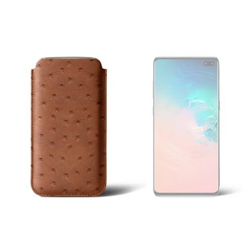 Samsung Galaxy S10 Plus 用クラシックケース - Tan - Real Ostrich Leather