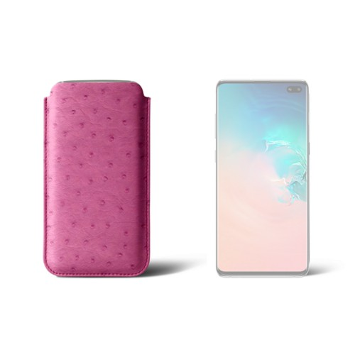 Classic case for Samsung Galaxy S10 Plus - Fuchsia  - Real Ostrich Leather