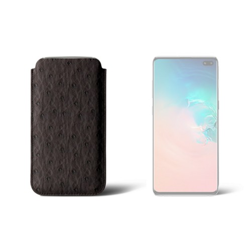 Classic case for Samsung Galaxy S10 Plus - Dark Brown - Real Ostrich Leather