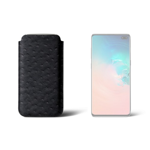 Samsung Galaxy S10 Plus 用クラシックケース - Black - Real Ostrich Leather
