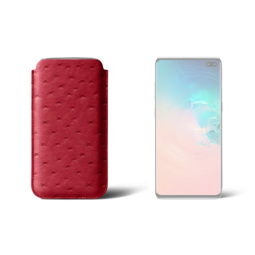 Samsung Galaxy S10 Plus 用クラシックケース - Red - Real Ostrich Leather