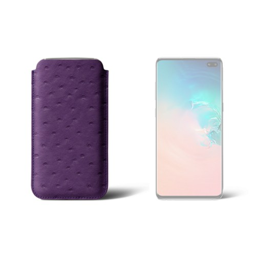 Classic case for Samsung Galaxy S10 Plus - Purple - Real Ostrich Leather