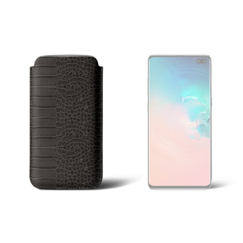 Classic case for Samsung Galaxy S10 Plus - Mouse-Grey - Crocodile style calfskin