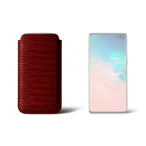 Classic case for Samsung Galaxy S10 Plus - Red - Crocodile style calfskin