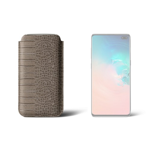 Classic case for Samsung Galaxy S10 Plus - Light Taupe - Crocodile style calfskin