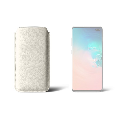 Classic case for Samsung Galaxy S10 Plus - Off-White - Granulated Leather