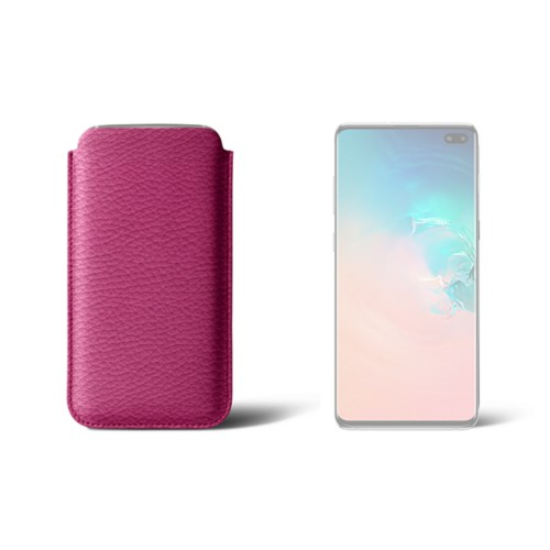 Classic case for Samsung Galaxy S10 Plus - Fuchsia  - Granulated Leather