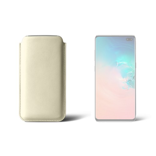 Classic case for Samsung Galaxy S10 Plus - Off-White - Smooth Leather