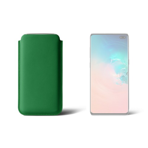 Classic case for Samsung Galaxy S10 Plus - Light Green - Smooth Leather