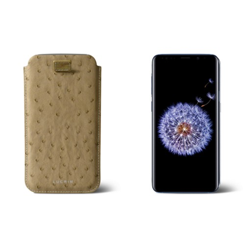 Samsung Galaxy S8+ pouch with pull-up strap - Beige - Real Ostrich Leather