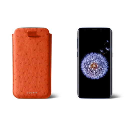Samsung Galaxy S8+ pouch with pull-up strap - Orange - Real Ostrich Leather
